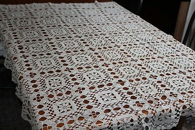 Vintage Cotton Beige Hand Crocheted Tablecloth 44x60