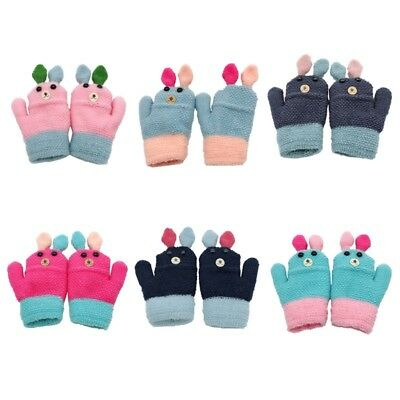 Toddler Baby Thicken Full Finger  Warm Knitted Mittens Animal Pattern Gloves