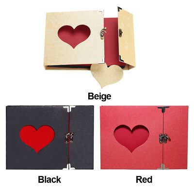 AU Vintage DIY Scrapbook Album Love Heart Hollow Out With Lock Hard Cover Gift