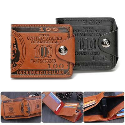 UK Mens US Dollar Bill Wallet PU Leather Bifold Credit Card Photo Holder Purse