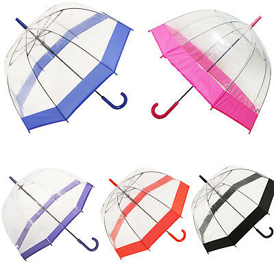 Large Dome Umbrella Clear See Through Rain Walking Transparent Brolly Windproof