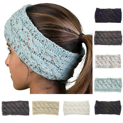 Women Winter Knitted Headband Lady Crochet Knitting Wool Hat Wide Hairband Stric