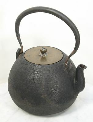 Antique Japanese Tea Kettle Tetsubin. Cast Iron Signed Copper Lid Teapot