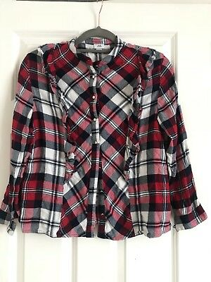 Girls River Island Check Shirt With Frills 9-10