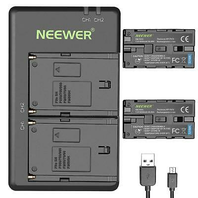 Neewer 2-Pack 6600mAh Li-ion Replacement Battery with USB Charger for Sony