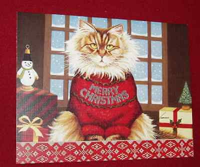 18 LANG Christmas Cards Squeaky's Christmas Cat in Sweater Decorated Envelopes
