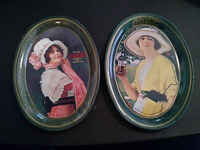 Vintage Coca-Cola Coke Tip Tray 1973 Victorian Girl 1914 and 1920 Advertising