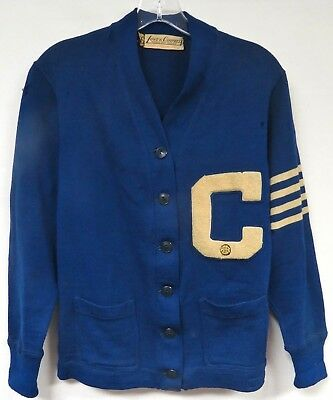 Vintage 40s Cardigan Sweater Chenille Patch Pin Varsity Letterman Lowe Campbell