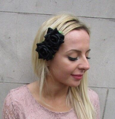 Double Black Rose Flower Hair Clip Fascinator Races Wedding Floral Goth 6536