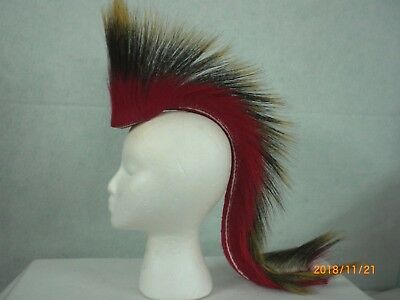 Porcupine Roach, Red, 22 inch Out, Red with White Stripe Yarn Base