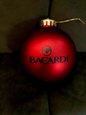 NEW! LOT OF 10 Bacardi Rum DEEP RED SATIN Round Holiday Christmas Ornaments BAT