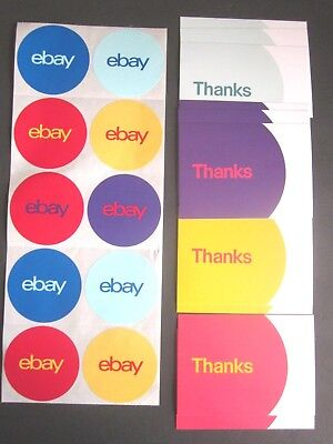 """Ebay Branded Thank You Postcards 5.5"""" x 4"""" & 3"""" Round Stickers Lot of 20 Ea. New"""