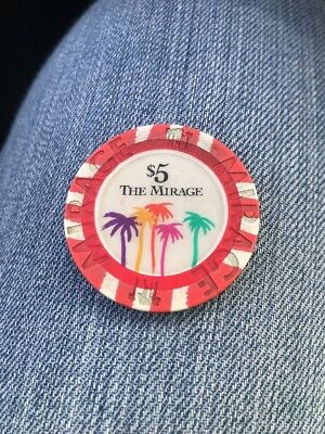 The Mirage $5 Casino Chip - Las Vegas - Poker, Blackjack, Roulette (KC)
