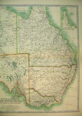Old Antique Print 1910 Map New South Wales Australia Victoria Queensland 20th