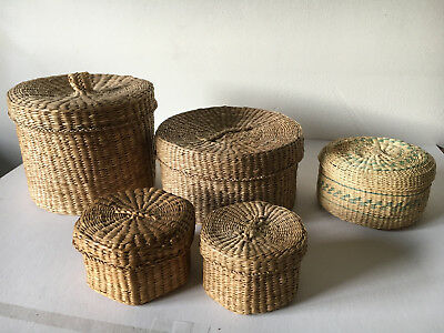 lot (5) vintage SWEETGRASS BASKETS native? basket with lids / cover Tight woven