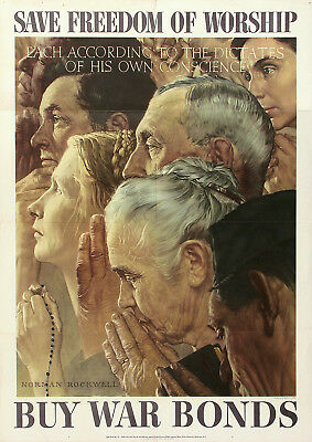 NORMAN ROCKWELL Vtg WWII 1943 FOUR FREEDOMS Bonds Poster SAVE FREEDOM OF WORSHIP