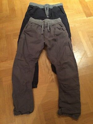 Two Pairs Boys M&S Lined Cotton Trousers Age 13-14 Years