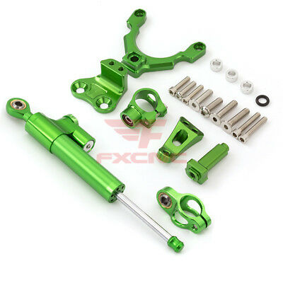 Fit Kawasaki Z900 2017 2018 Green Steering Damper Stabilizer & Bracket Kits