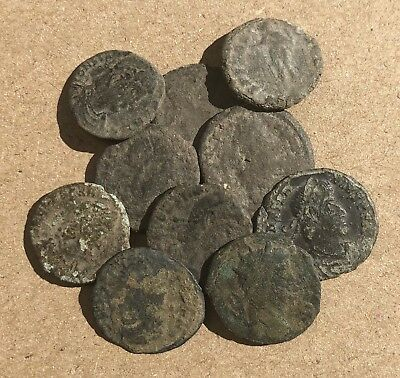 10 Authentic Ancient Roman Coins - Uncleaned AE3 AE4 Sizes Constantine Era