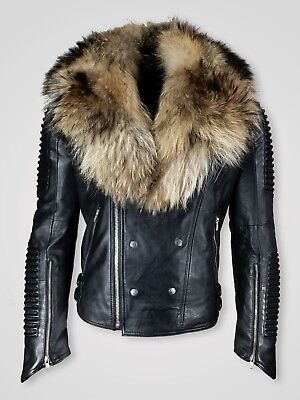 Men'S Black Colored Pure Leather Biker Jacket With Real Fur Collar