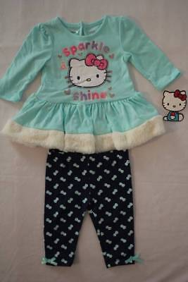 NEW Baby Girls 2 piece Set Size 12 Month Hello Kitty Shirt Top Leggings Outfit