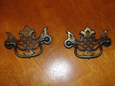 Lot of 2 Vintage Antique Colonial Swing Solid Brass Handles Drawer Cabinet Pulls