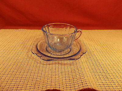 Indiana Glass Recollection Blue Madrid Pattern Cup & Saucer Set