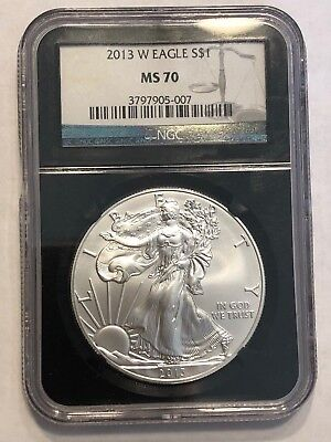 2013-W BURNISHED 1 oz SILVER EAGLE $1 - NGC MS70 - BLACK CORE - One Dollar