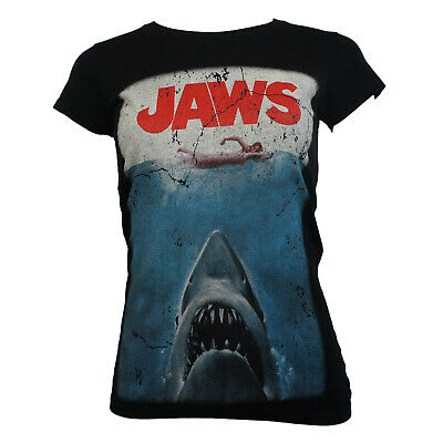 Authentic JAWS Shark Distressed Movie Poster Logo Girl Juniors T-Shirt S-XL NEW
