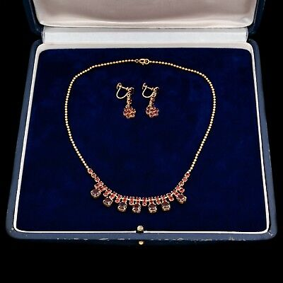 "Antique Vintage Art Nouveau Brass Red Rhinestone 16"" L Necklace & Earring Set"