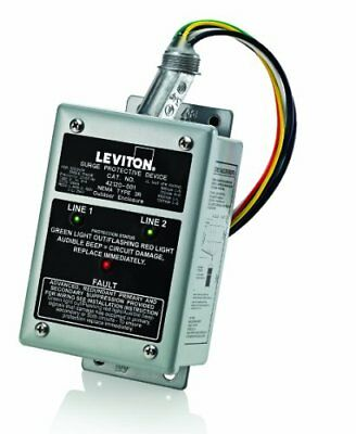 Leviton 42120-1 120/240 Volt Single Phase Panel Protector, 4-Mode Protection,...