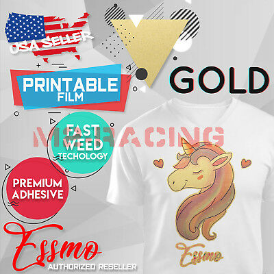 "Essmo™ Gold Printable Heat Transfer Vinyl HTV TShirt 20"" Iron On Heat Press DD01"