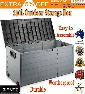 Outdoor Storage Box 290L Plastic Container Weatherproof Heavy Duty Lockable