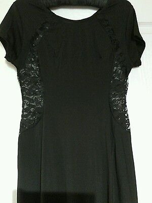 New  Black Lace Maxi Long Dress  Size 10 Stretchy Ideal For Hols Festival