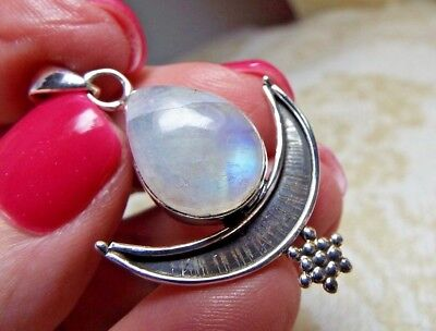* RAINBOW MOONSTONE CRESCENT MOON & STAR PENDANT * .925 Solid Sterling Silver