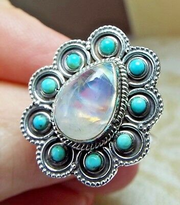 * RAINBOW MOONSTONE & TURQUOISE RING * .925 Solid Sterling Silver, Size 8