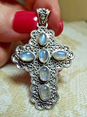 * RAINBOW MOONSTONE ORNATE CROSS PENDANT * in .925 Solid Sterling Silver