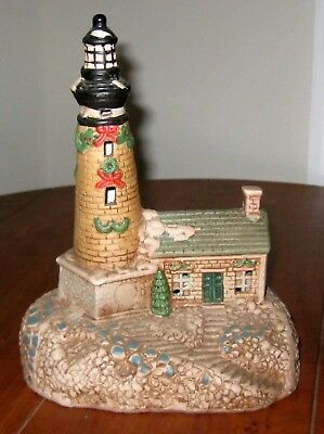 ceramic brown lighthouse lamp night light with christmas holiday decorations