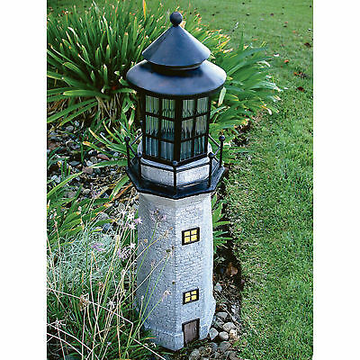Solar Powered LED Light Outdoor Lighthouse Home Garden Yard Decor, 35in.H - Gray