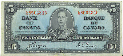 Bank of Canada 1937 $5 Five Dollars Coyne-Towers C/S Prefix Fine+ King George VI