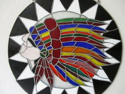 Stained Glass, native American Head with feather deocration