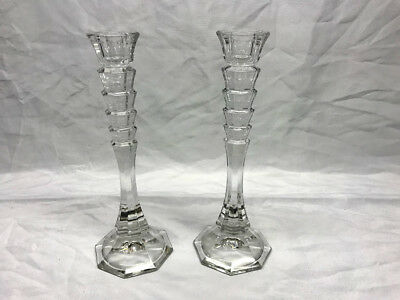 "Set of 2 9.5"" Tall Crystal Glass Candlestick Taper Holders"