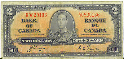 Bank of Canada 1937 $2 Two Dollars Coyne-Towers K/R Prefix VG/F King George VI