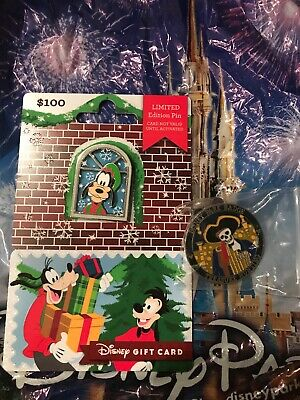Disney 2018 Christmas Holiday Disney Gift Card Goofy Pin $0 Balance LE 2655 New