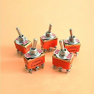 5Pcs 12mm ON/ON 2 Positions DPDT 6 Screw Terminal Toggle Switch AC 250V 15A