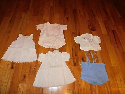 Vintage Children's Clothing Lot Nannette Buddy Suit + Pink Romper + Dress + Slip