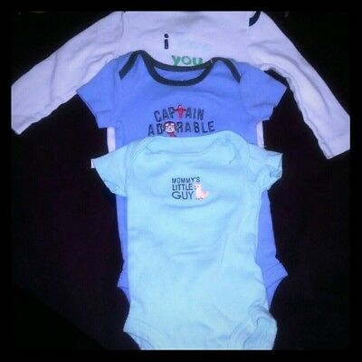 Carters Baby Boy One Piece 3 piece bundle 3 sizes: nb/0-3/6-9