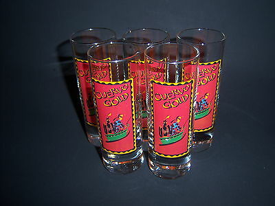 (5) promo CUERVO GOLD shooter shot glasses - TEQUILA lounge FUN - NEW