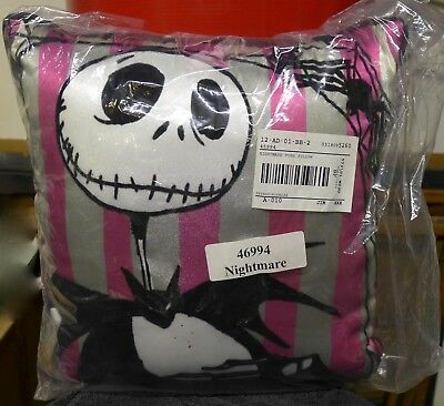 """Nightmare Before Christmas Jack Pink Striped Throw Pillow NEW 12""""x12"""""""