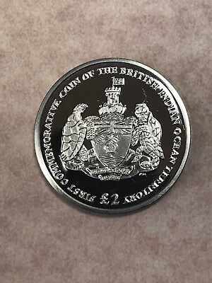2009  British Indian Ocean Territory Coat of Arms C/N 2 Pound Coin w/TurtlesKM-1